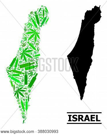 Drugs Mosaic And Usual Map Of Israel. Vector Map Of Israel Is Constructed With Randomized Vaccine Do