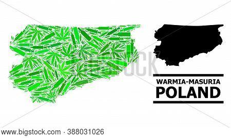 Drugs Mosaic And Solid Map Of Warmia-masuria Province. Vector Map Of Warmia-masuria Province Is Form