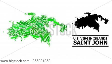 Drugs Mosaic And Usual Map Of Saint John Island. Vector Map Of Saint John Island Is Made From Scatte