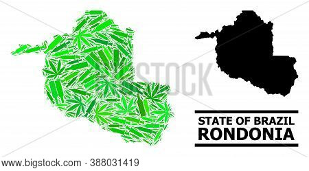 Addiction Mosaic And Solid Map Of Rondonia State. Vector Map Of Rondonia State Is Shaped Of Randomiz