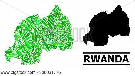 Drugs Mosaic And Usual Map Of Rwanda. Vector Map Of Rwanda Is Done Of Randomized Injection Needles,