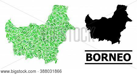 Drugs Mosaic And Usual Map Of Borneo Island. Vector Map Of Borneo Island Is Made With Random Inocula