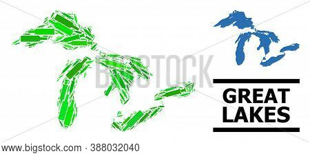 Drugs Mosaic And Usual Map Of Great Lakes. Vector Map Of Great Lakes Is Shaped Of Random Vaccine Sym