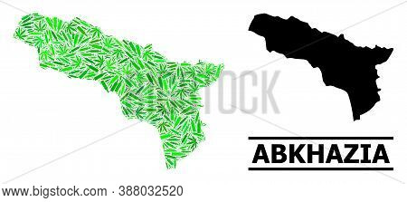 Addiction Mosaic And Usual Map Of Abkhazia. Vector Map Of Abkhazia Is Created From Random Vaccine Sy