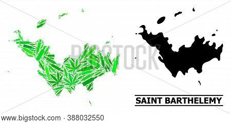 Addiction Mosaic And Usual Map Of Saint Barthelemy. Vector Map Of Saint Barthelemy Is Constructed Of