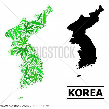 Addiction Mosaic And Solid Map Of Korea. Vector Map Of Korea Is Made With Randomized Inoculation Ico