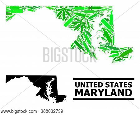 Addiction Mosaic And Solid Map Of Maryland State. Vector Map Of Maryland State Is Composed From Rand
