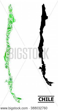 Drugs Mosaic And Solid Map Of Chile. Vector Map Of Chile Is Done With Randomized Vaccine Symbols, He
