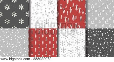 Set Of Seamless Winter Patterns With Snowflakes And Fir Trees. Vector Illustration. Cute Winter Hand