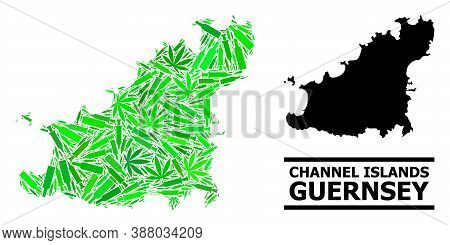 Addiction Mosaic And Solid Map Of Guernsey Island. Vector Map Of Guernsey Island Is Organized From R