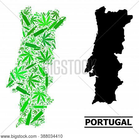 Addiction Mosaic And Solid Map Of Portugal. Vector Map Of Portugal Is Composed With Scattered Inject