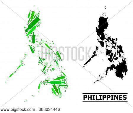 Drugs Mosaic And Solid Map Of Philippines. Vector Map Of Philippines Is Shaped From Scattered Inocul