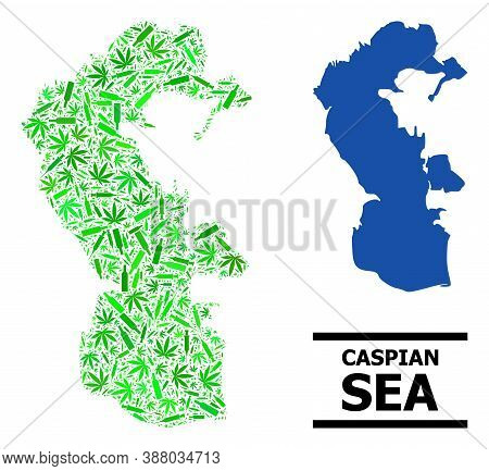 Addiction Mosaic And Usual Map Of Caspian Sea. Vector Map Of Caspian Sea Is Made With Scattered Vacc