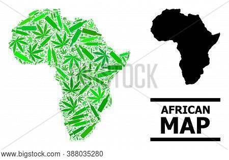 Drugs Mosaic And Usual Map Of Africa. Vector Map Of Africa Is Constructed Of Random Vaccine Symbols,