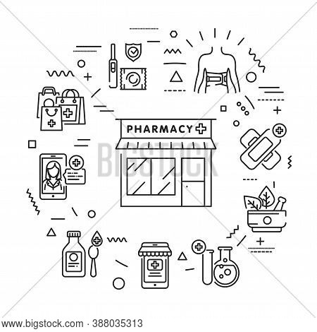 Pharmacy Web Banner. Medical Clinic Communication With Patient And Medicaments. Infographics With Li