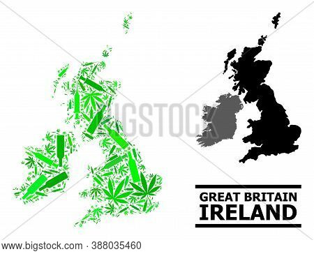 Addiction Mosaic And Usual Map Of Great Britain And Ireland. Vector Map Of Great Britain And Ireland
