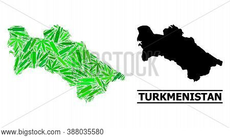 Addiction Mosaic And Solid Map Of Turkmenistan. Vector Map Of Turkmenistan Is Done Of Scattered Inje