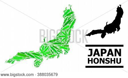 Addiction Mosaic And Usual Map Of Honshu Island. Vector Map Of Honshu Island Is Designed Of Randomiz