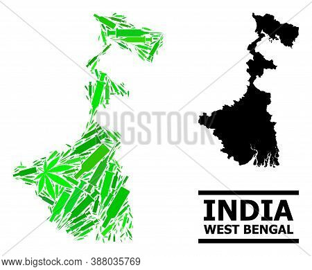 Addiction Mosaic And Solid Map Of West Bengal State. Vector Map Of West Bengal State Is Designed Fro