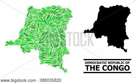 Drugs Mosaic And Usual Map Of Democratic Republic Of The Congo. Vector Map Of Democratic Republic Of