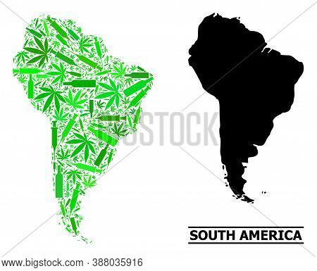 Addiction Mosaic And Usual Map Of South America. Vector Map Of South America Is Organized From Scatt