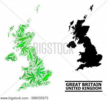 Addiction Mosaic And Usual Map Of United Kingdom. Vector Map Of United Kingdom Is Created With Rando