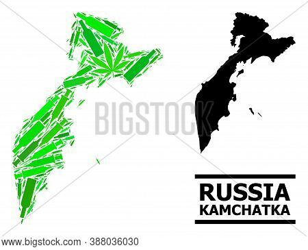 Addiction Mosaic And Solid Map Of Kamchatka Peninsula. Vector Map Of Kamchatka Peninsula Is Composed