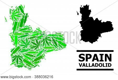 Drugs Mosaic And Usual Map Of Valladolid Province. Vector Map Of Valladolid Province Is Designed Fro