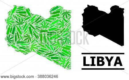 Drugs Mosaic And Usual Map Of Libya. Vector Map Of Libya Is Made Of Randomized Syringes, Dope And Al