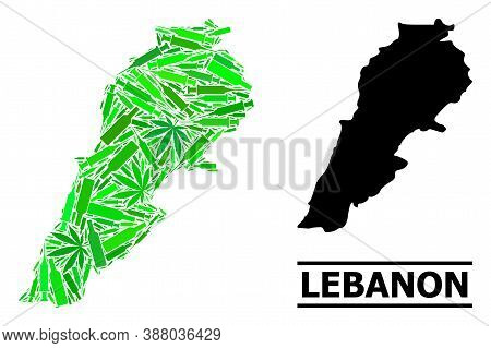 Addiction Mosaic And Solid Map Of Lebanon. Vector Map Of Lebanon Is Organized Of Scattered Syringes,