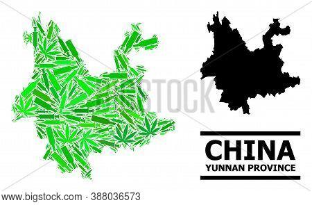 Addiction Mosaic And Solid Map Of Yunnan Province. Vector Map Of Yunnan Province Is Created From Ran