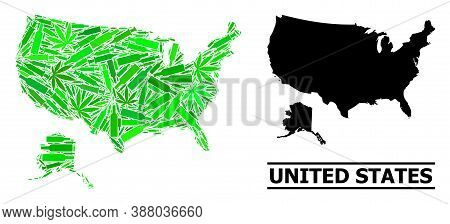 Drugs Mosaic And Solid Map Of Usa And Alaska. Vector Map Of Usa And Alaska Is Composed From Randomiz