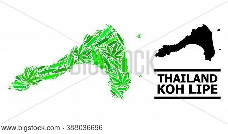 Addiction Mosaic And Solid Map Of Koh Lipe. Vector Map Of Koh Lipe Is Created From Scattered Vaccine