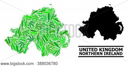 Drugs Mosaic And Solid Map Of Northern Ireland. Vector Map Of Northern Ireland Is Done With Randomiz