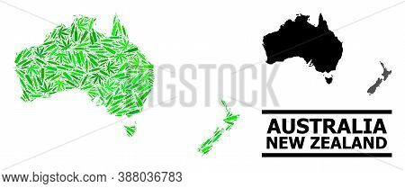 Addiction Mosaic And Usual Map Of Australia And New Zealand. Vector Map Of Australia And New Zealand