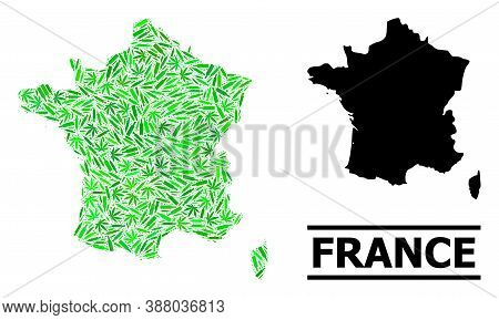 Addiction Mosaic And Solid Map Of France. Vector Map Of France Is Done From Scattered Injection Need