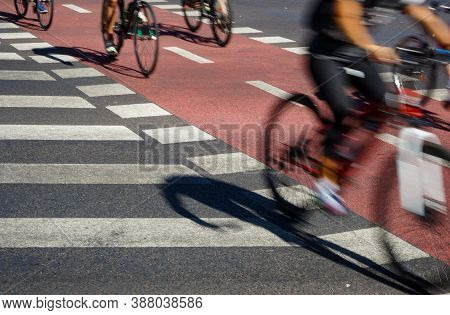 Bucharest, Romania - September 30, 2020: People Ride Bicycles On The Bicycle Track In Victory Square
