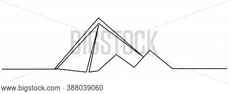 Pyramids Of Giza. Egypt Continuous Line Drawing. One Line Sketch Of Pyramids Of Egypt. Single One Li