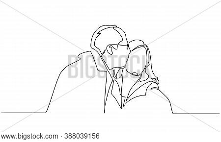 Elderly Couple In Continuous Line Art Drawing Style. Romantic Elderly Couple. Old Grandfather And Gr