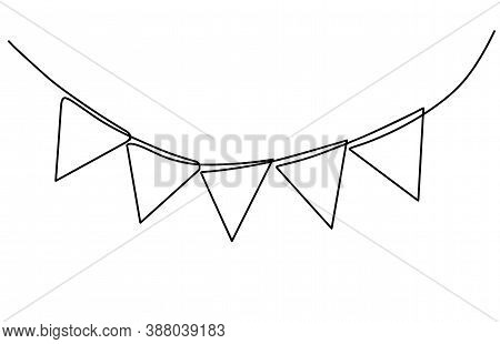 Continuous Line Drawing. Buntings Garland. Party Flags. Symbol Of Celebration. Black Isolated On Whi