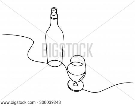 Wine Continuous Line Vector Illustration. One Continuous Drawn Line Of The Bottle And A Glass Drawn
