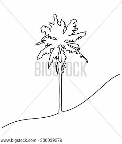 Palm Tree Single Line Drawing. One Line Tree Art For Tattoo Or Logo. Single Line Drawing Of An Isola