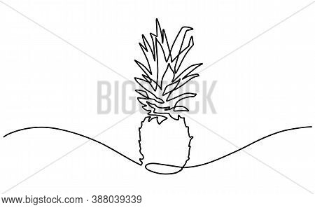 Hand Drawn Pineapple. Line Contour Drawing Icon. One Continuous Drawn Line Of Pineapple Drawn From T