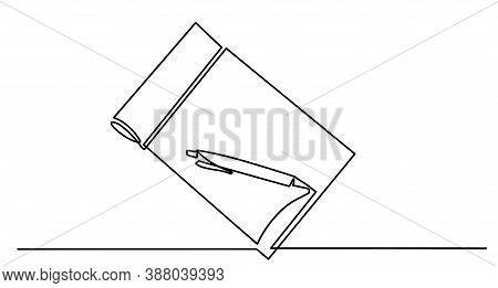 Single Continuous Line Drawing Of Notebook Or Notepad With A Pencil Above Work Desk. Writing Busines