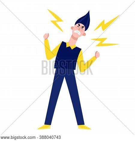 Vector Illustration Of Man Explode With Anger Isolated On White.