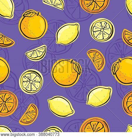 Lemon And Orange Seamless On Violet Background.