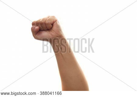 Punch, Hand Fists Knuckle, Hand Hitting Raised Up Isolated On White