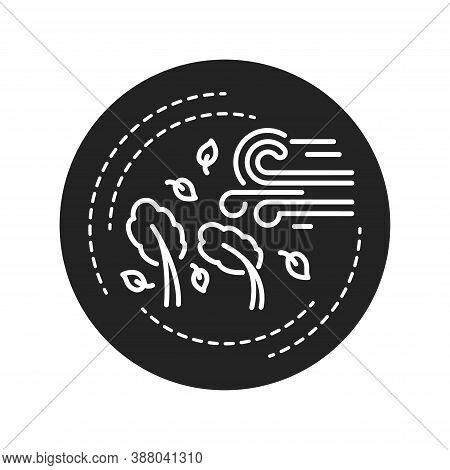 Hurricane Black Glyph Icon. A Large Rotating Storm With High Speed Winds That Forms Over Warm Waters