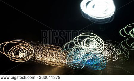 Multicolor Light Painting Abstract Night Circular Lights. Multicolor Light Painting Long Exposure Ab