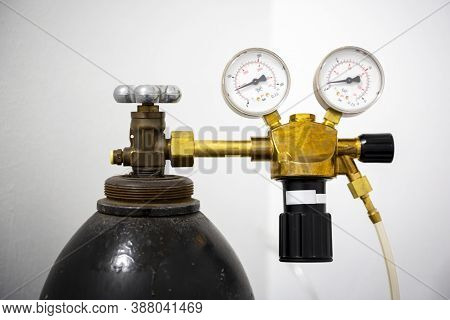 Gas Welding Equipment On A Tank. Pressure Gauges Used In Welding, Cutting And Allied Processes
